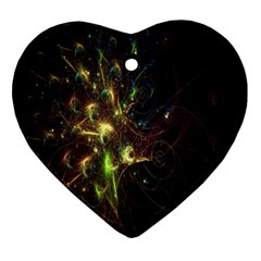 Fractal Flame Light Energy Heart Ornament (two Sides)