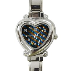 Fractal Digital Art Heart Italian Charm Watch