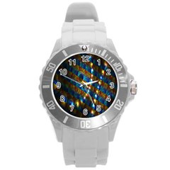 Fractal Digital Art Round Plastic Sport Watch (L)