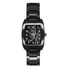 Fractal Digital Art Stainless Steel Barrel Watch