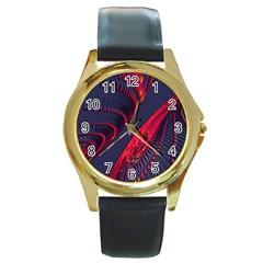 Fractal Fractal Art Digital Art Round Gold Metal Watch