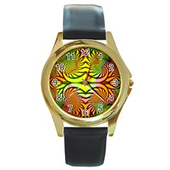 Fractals Ball About Abstract Round Gold Metal Watch