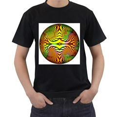 Fractals Ball About Abstract Men s T-Shirt (Black) (Two Sided)