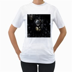 Fractal Sphere Steel 3d Structures Women s T-Shirt (White) (Two Sided)