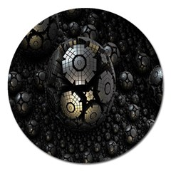 Fractal Sphere Steel 3d Structures Magnet 5  (round)