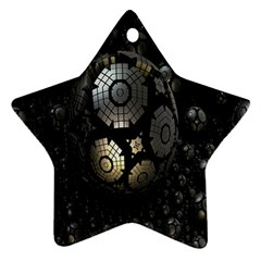 Fractal Sphere Steel 3d Structures Star Ornament (Two Sides)