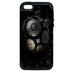 Fractal Sphere Steel 3d Structures Apple iPhone 5 Hardshell Case (PC+Silicone)