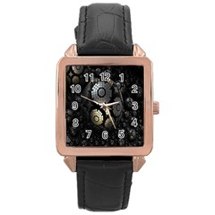 Fractal Sphere Steel 3d Structures Rose Gold Leather Watch