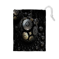 Fractal Sphere Steel 3d Structures Drawstring Pouches (large)