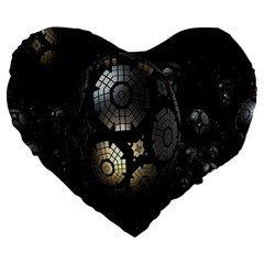 Fractal Sphere Steel 3d Structures Large 19  Premium Flano Heart Shape Cushions