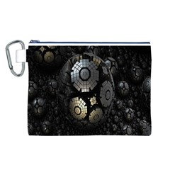 Fractal Sphere Steel 3d Structures Canvas Cosmetic Bag (l)