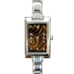 Fractal Spiral Endless Mathematics Rectangle Italian Charm Watch