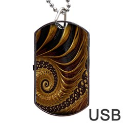 Fractal Spiral Endless Mathematics Dog Tag USB Flash (Two Sides)