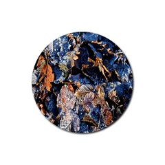 Frost Leaves Winter Park Morning Rubber Round Coaster (4 Pack)