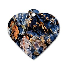 Frost Leaves Winter Park Morning Dog Tag Heart (one Side)
