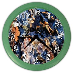 Frost Leaves Winter Park Morning Color Wall Clocks