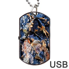 Frost Leaves Winter Park Morning Dog Tag USB Flash (One Side)