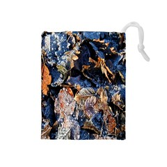 Frost Leaves Winter Park Morning Drawstring Pouches (medium)