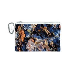 Frost Leaves Winter Park Morning Canvas Cosmetic Bag (S)