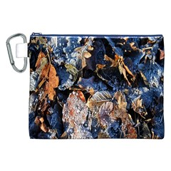 Frost Leaves Winter Park Morning Canvas Cosmetic Bag (xxl)