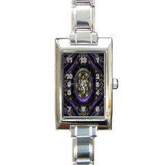 Fractal Sparkling Purple Abstract Rectangle Italian Charm Watch