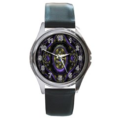Fractal Sparkling Purple Abstract Round Metal Watch