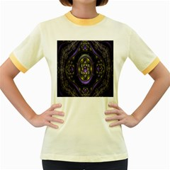 Fractal Sparkling Purple Abstract Women s Fitted Ringer T Shirts
