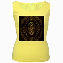 Fractal Sparkling Purple Abstract Women s Yellow Tank Top