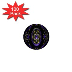Fractal Sparkling Purple Abstract 1  Mini Buttons (100 Pack)