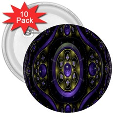 Fractal Sparkling Purple Abstract 3  Buttons (10 Pack)