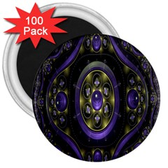 Fractal Sparkling Purple Abstract 3  Magnets (100 Pack)