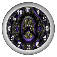 Fractal Sparkling Purple Abstract Wall Clocks (silver)