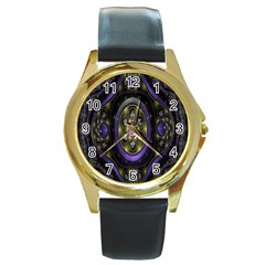 Fractal Sparkling Purple Abstract Round Gold Metal Watch