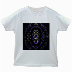 Fractal Sparkling Purple Abstract Kids White T-Shirts