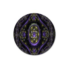 Fractal Sparkling Purple Abstract Magnet 3  (Round)