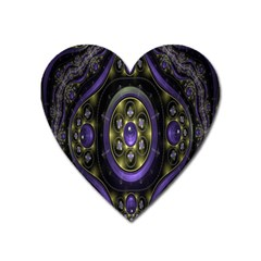Fractal Sparkling Purple Abstract Heart Magnet