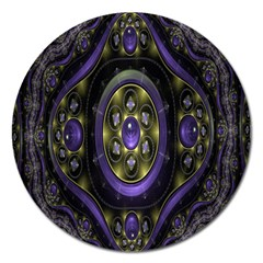 Fractal Sparkling Purple Abstract Magnet 5  (round)