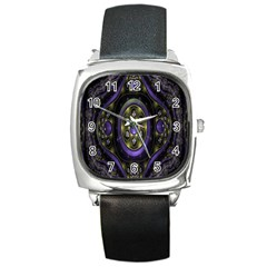 Fractal Sparkling Purple Abstract Square Metal Watch