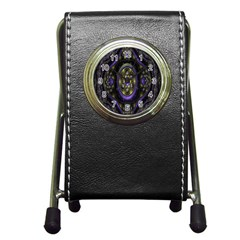 Fractal Sparkling Purple Abstract Pen Holder Desk Clocks