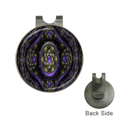 Fractal Sparkling Purple Abstract Hat Clips with Golf Markers