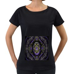 Fractal Sparkling Purple Abstract Women s Loose-Fit T-Shirt (Black)