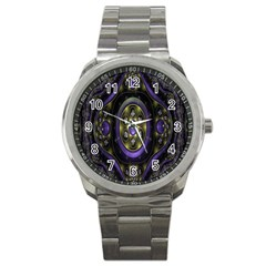 Fractal Sparkling Purple Abstract Sport Metal Watch