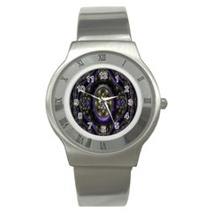 Fractal Sparkling Purple Abstract Stainless Steel Watch