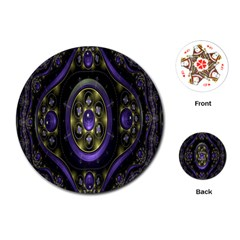 Fractal Sparkling Purple Abstract Playing Cards (Round)