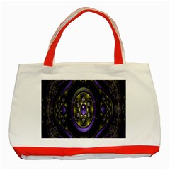 Fractal Sparkling Purple Abstract Classic Tote Bag (Red)