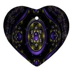 Fractal Sparkling Purple Abstract Heart Ornament (two Sides)