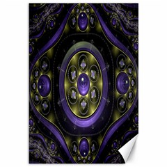 Fractal Sparkling Purple Abstract Canvas 12  x 18