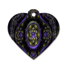 Fractal Sparkling Purple Abstract Dog Tag Heart (Two Sides)