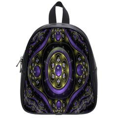 Fractal Sparkling Purple Abstract School Bags (small)