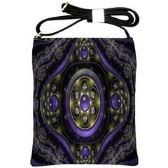 Fractal Sparkling Purple Abstract Shoulder Sling Bags